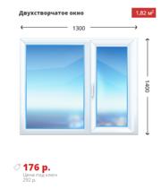 Двухстворчатое окно KBE Эксперт 1300х1400 дешево