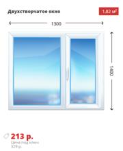 Двухстворчатое окно Rehau Sib 1300х1400 дешево