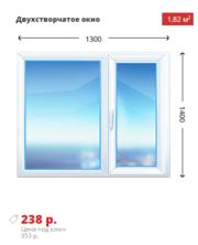 Двухстворчатое окно Rehau-Delight 1300х1400 дешево